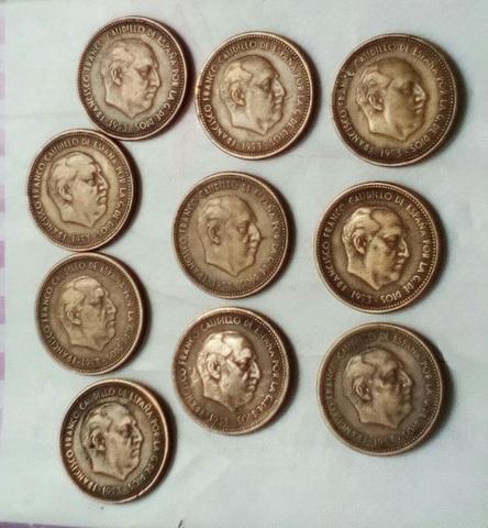 10 Monedas De 2,5 Pesetas 1953
