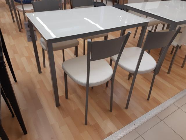 MIL ANUNCIOS.COM - Mesa cocina cristal estruc aluminio gris