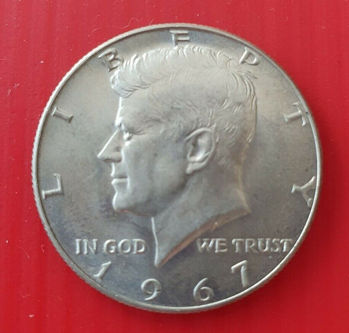 Moneda Plata Half Dollar 1967 Kennedy