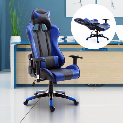 Silla Azul Oficina 67x67x123 Pu De Cuero bfy76g