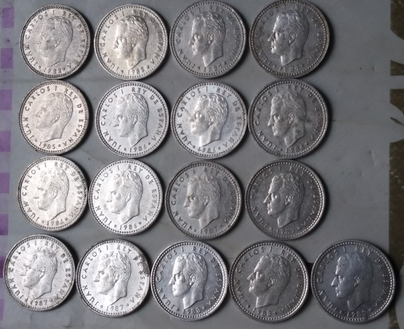 Lote De 17 Monedas 1 Peseta Juan Carlos