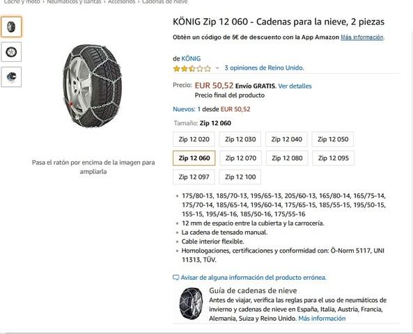 2 piezas K/ÖNIG CB-12 070 Cadenas para la nieve