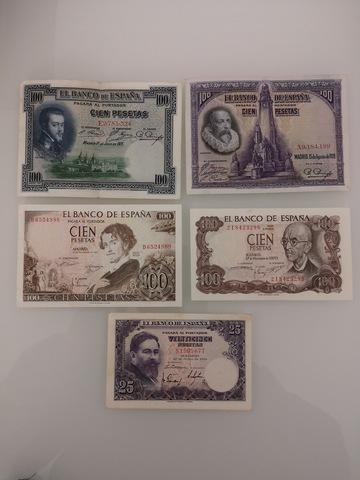 Lote De 5 Billetes De España Antiguos