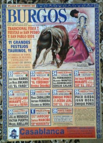 Cartel De Toros  De Burgos 2002.