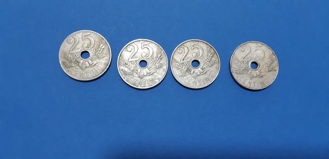 4 Monedas De 25 Cts 1927