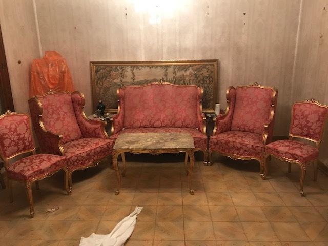 Silla lateral francés Luis Verde Floral Estilo Antiguo Crema Dormitorio Comedor