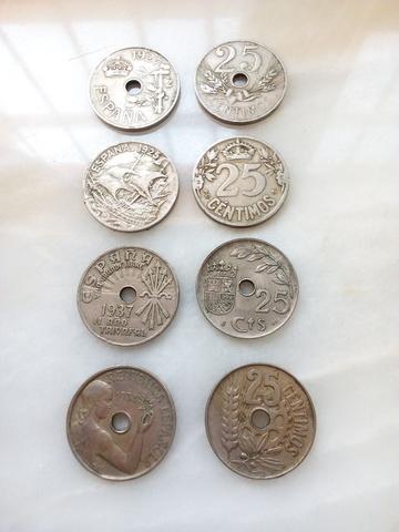 Monedas 25 Céntimos Años 1925, 1927