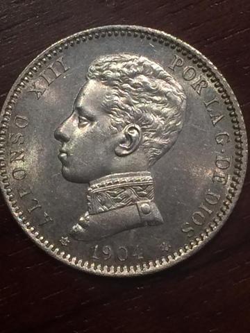 Moneda 1 Peseta Nueva Sc Año 1904
