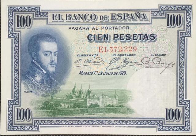 100 Pesetas 1925 Serie E, Sc/Plancha