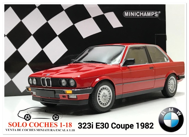 Bmw 323i e30 1982 rojo metalizado COCHE MODELO DIECAST 1:18 Minichamps nuevo