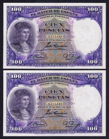 Pareja 100 Pesetas 1931 Sc/Plancha