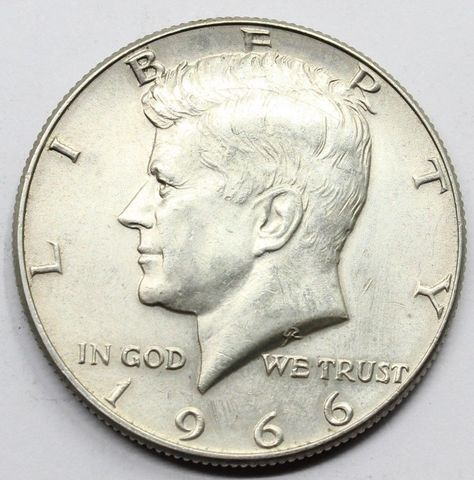 Moneda Plata Half Dollar 1966 Kennedy