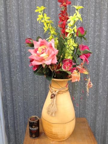 Jarrón Grande Con Flores Artificiales