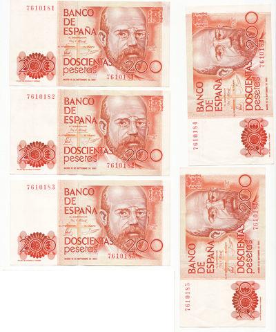 5 Billetes De 200 Pesetas