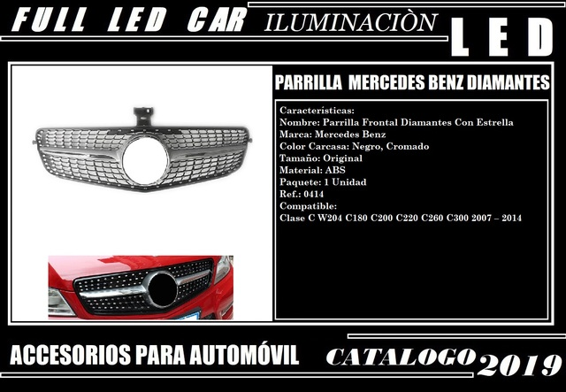 AMG panamericana GT c63 look 360 ° calandra plata mercedes w205 clase C