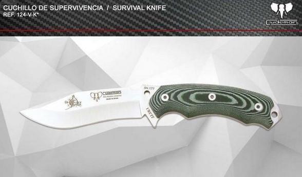 CUDEMAN 126-M-K Incluye Funda Kyd Acero MOVA Mango de Micarta Negra Cuchillo de Supervivencia Spartan