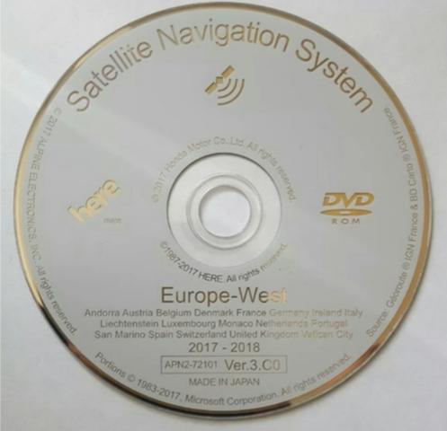 HONDA MAPAS EUROPA 2018 DVD ORIGINAL - foto 1