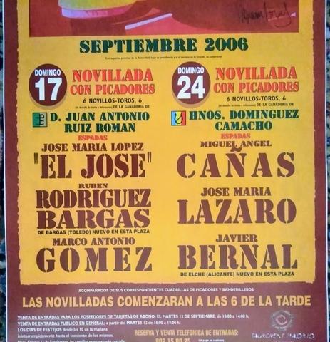 CARTEL DE TOROS EN MADRID 17 Y 24/9/2006 - foto 2