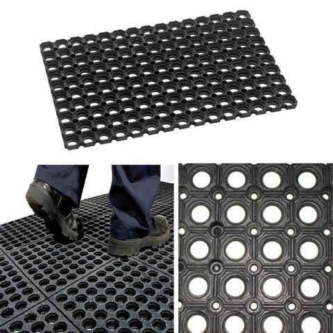Indicado para su uso en lugares concurridos y de alto tr/ánsito 1,2 x 2 m Superficies antideslizantes y de f/ácil instalaci/ón PAVIMENTO de CAUCHO Checker 3mm