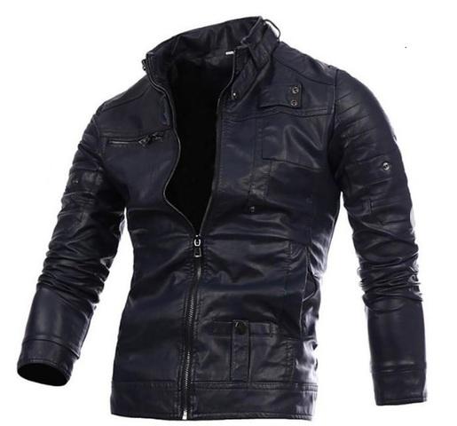 detalles de chaqueta de moto cuero para hombre auténtico