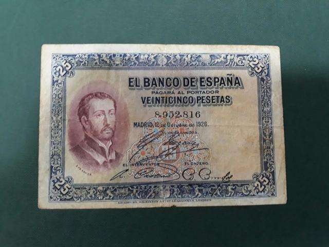 Billete 25 Pesetas Año 1926.Sin Serie6
