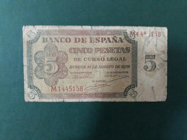 Billete 5 Pesetas Año 1938.Serie M.