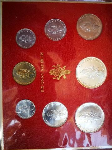 Cartera Monedas Oficial Vaticano 1975 Añ