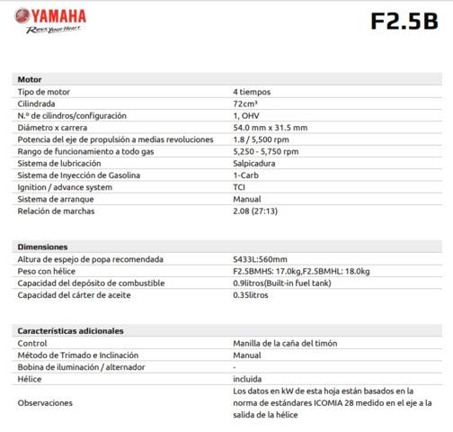 MOTOR YAMAHA 2. 5 CV EJE CORTO - foto 2