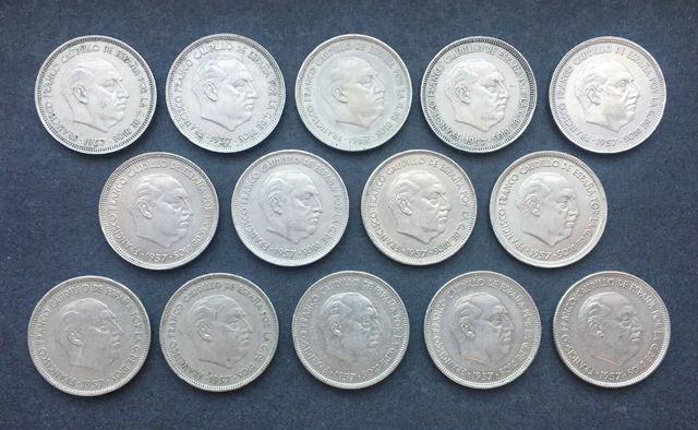 Serie Completa De 25 Pesetas 1957 Franco