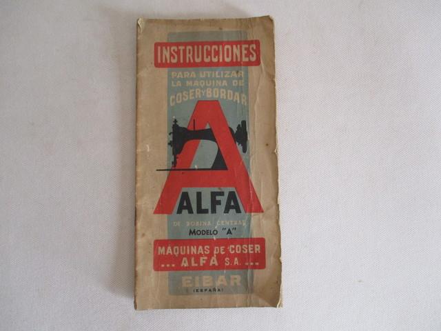 INSTRUCCIONES MÁQUINA COSER ALFA, MOD.  A.  - foto 1
