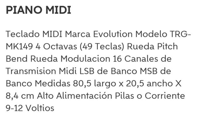 PIANO MIDI MARCA EVOLUTION - foto 3