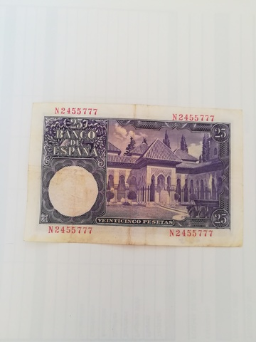 Billete De Venticinco Pesetas