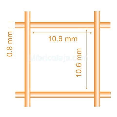16 x 16 x 0,9//1,2 mm 0.6 m Malla electrosoldada plastificada 25 Mt