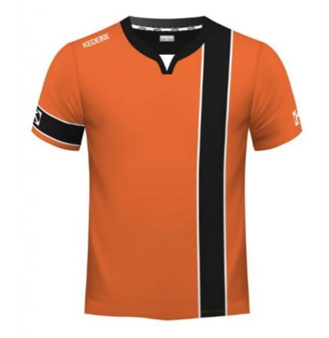 Camiseta Naranja Y Negra De Fútbol