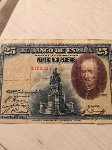 Billetes De 25 Pesetas, 100 Pesetas Y +