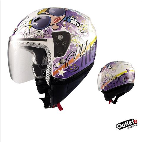 Casco Infantil Jet Shiro Sh 60 Ice Fairy Blanco decorado con