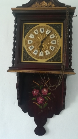 Reloj De Pared Antiguo Pintado A Mano