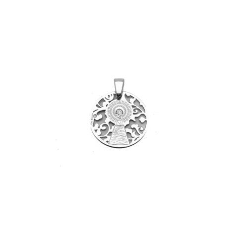10mm Medalla Virgen Milagrosa en Plata de Ley Cubierta de Oro de 18kt