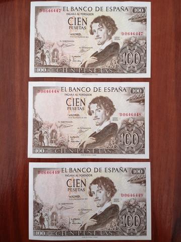 Tres Billetes De 100 Pesetas Nuevos 1965
