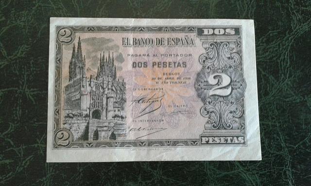 Billete 2 Pesetas Año 1938.Serie N.