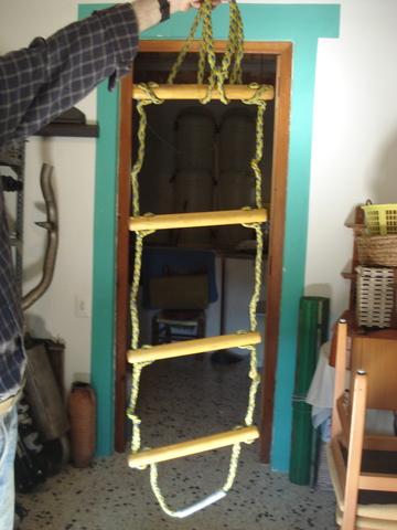 Cosye Escalera de Cuerda con 6 pelda/ños de Madera Escalera de Cuerda Columpio de Escalera de Escalada