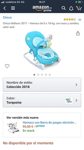 color azul Hamaca de 0 a 18 kg con luces y sonidos Chicco Balloon 2017