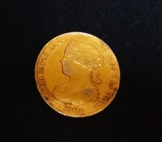 Moneda 100 Reales , Isabel || De 1864.