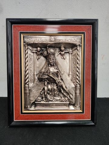 Antiguo Cuadro Relieve Virgen Del Camino
