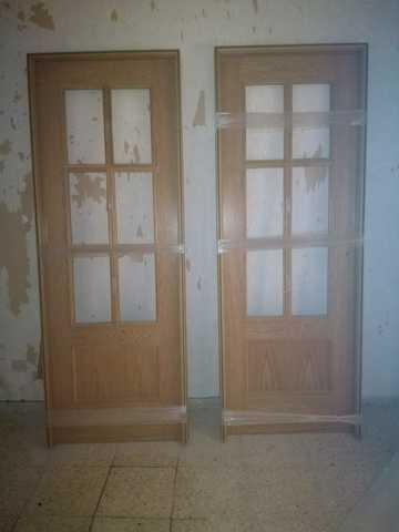 Batiente de 90x20 tapeta lisa de 220x90x12 // 10 Block puerta de interior lacada en blanco DM hidr/ófugo . manilla incluida Herrajes color Inox//Lat/ón//Negro//Cuero