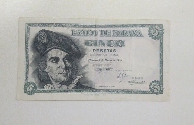 Billete 5 Pesetas 1948 Elcano