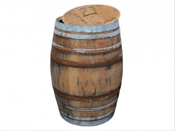 Capacidad 150 litros Jardinera de Madera Grande//di/ámetro 75 cm Temesso Barril macetero Grande r/ústico Barril macetero sin complementos