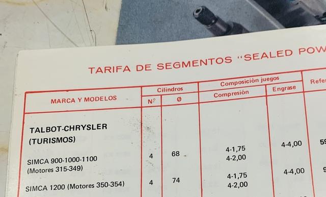 JUEGO SEGMENTOS SIMCA 1200 74MM - foto 1