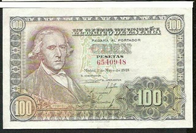 Billete 100 Peseras Año 1948.Sin Serie.