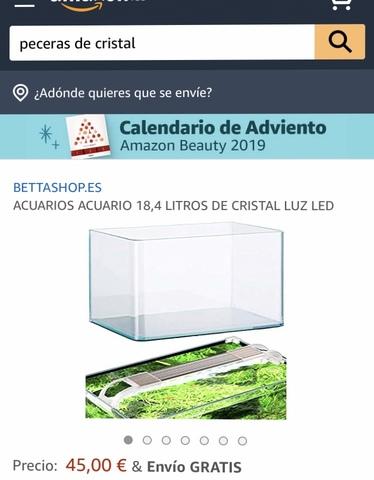 ACUARIOS ACUARIO 18,4 LITROS DE CRISTAL  LUZ LED